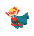 comic brave flying kid in superhero costume with vector image vector image