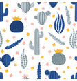 cute hand drawn seamless pattern with cacti and vector image vector image