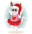 cute kitty dancing with snow on winter day cute vector image vector image
