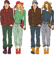Fashion stylish guy and girl in spring clothes vector image vector image
