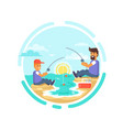 fishing day poster father and son catching fish vector image vector image