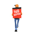 food delivery service food delivery guy carrying vector image