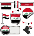 Glossy icons with Iraqi flag vector image vector image