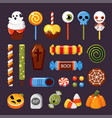 halloween candies flat isolated vector image vector image