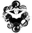 hand drawn of woman isolated tattoo artwork in vector image
