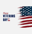 happy veterans day flag design over american vector image vector image