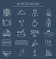 Icons of hotel service Thin white line icon Hotel vector image