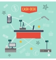 Infographics checkout area in supermarket vector image