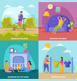 lazy weekends people flat icon set vector image vector image