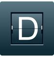 Letter D from mechanical scoreboard vector image