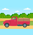 lorry with potato harvest in back on a rural vector image vector image