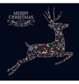 Merry Christmas vintage reindeer greeting card vector image vector image