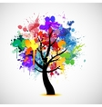 Multi colored paint splat abstract tree vector image vector image