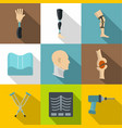 orthopedics prosthetics icon set flat style vector image vector image