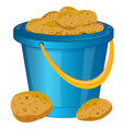 pail with potatoes vector image vector image