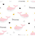 pattern with princess whale vector image vector image