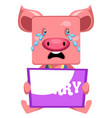pig with sorry sign on white background vector image vector image
