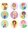 reading children in round icons isolated on white vector image vector image