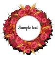 Round frame with flowers of roses with text vector image vector image
