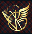 scissors with wings of gold color vector image vector image