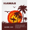 silhouette surfer tropical beach vector image vector image