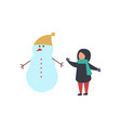 snowman with carrot nose and small child vector image vector image