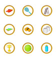 tennis championship icons set cartoon style vector image