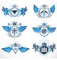 vintage heraldry design templates emblems vector image vector image
