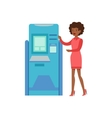 Woman Standing Next To ATM Cash Machine Bank vector image vector image
