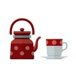 Kettle and mug for tea flat vector image