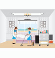maid cleaning hotel room with housekeeping trolley vector image