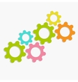 Colorful cogwheel gear set Flat design vector image