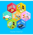 Isometric Home House Interior with Living Room vector image