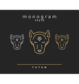 Monogram wolf Wolf Totem A set of monogrammed vector image
