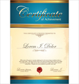 Blue and gold certificate template vector image vector image