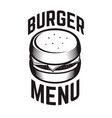 burger emblem design element for logo label vector image vector image