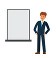 businessman looking at blank board cartoon flat vector image