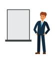 businessman looking at blank board cartoon flat vector image vector image