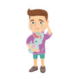 caucasian boy crying and holding toy vector image vector image