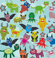 Cute cartoon Monsters seamless pattern on blue vector image