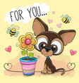 cute cartoon puppy with flower on orange vector image vector image