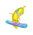 cute funny banana character wearing glasses and vector image