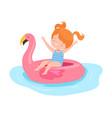 cute girl floating on inflatable flamingo swim vector image