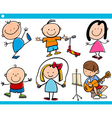 cute little children cartoon set vector image vector image