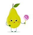 cute pear green cartoon character holds a lollipop vector image vector image