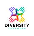 diversity hand team work help logo icon vector image