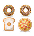 donut and bread with fried egg and pizza in white vector image