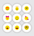 flat icon face set of angel caress smile and vector image vector image