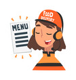 food express delivery service cheerful girl call vector image vector image
