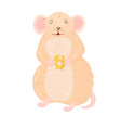 funny and cute mouse standing and holding a vector image vector image